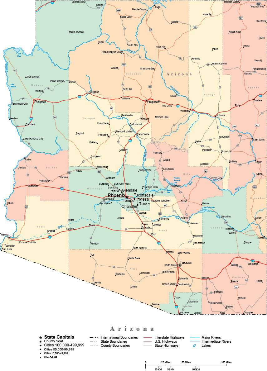 Map Of Arizona With Major Cities.Arizona Digital Vector Map With Counties Major Cities Roads