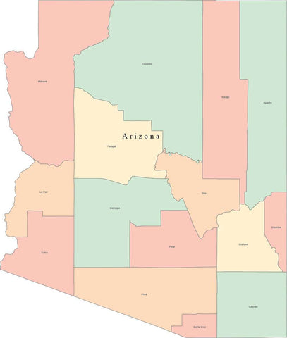 Multi Color Arizona Map with Counties and County Names