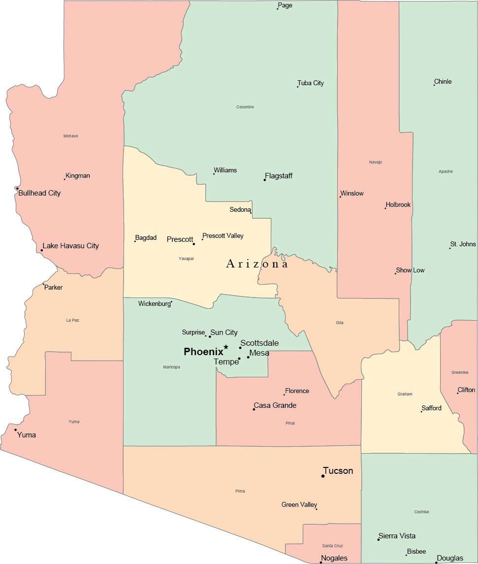 Map Of Arizona And Cities.Multi Color Arizona Map With Counties Capitals And Major Cities