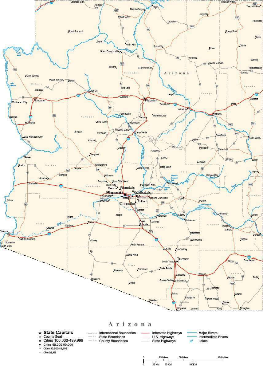 Arizona Map With County Lines.Arizona With Capital Counties Cities Roads Rivers Lakes Map