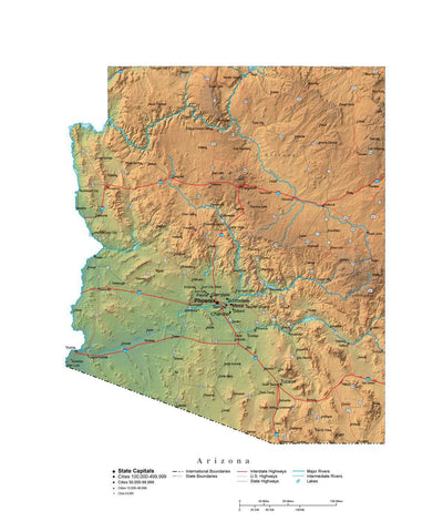 Digital Arizona State Illustrator cut-out style vector with Terrain AZ-USA-242002