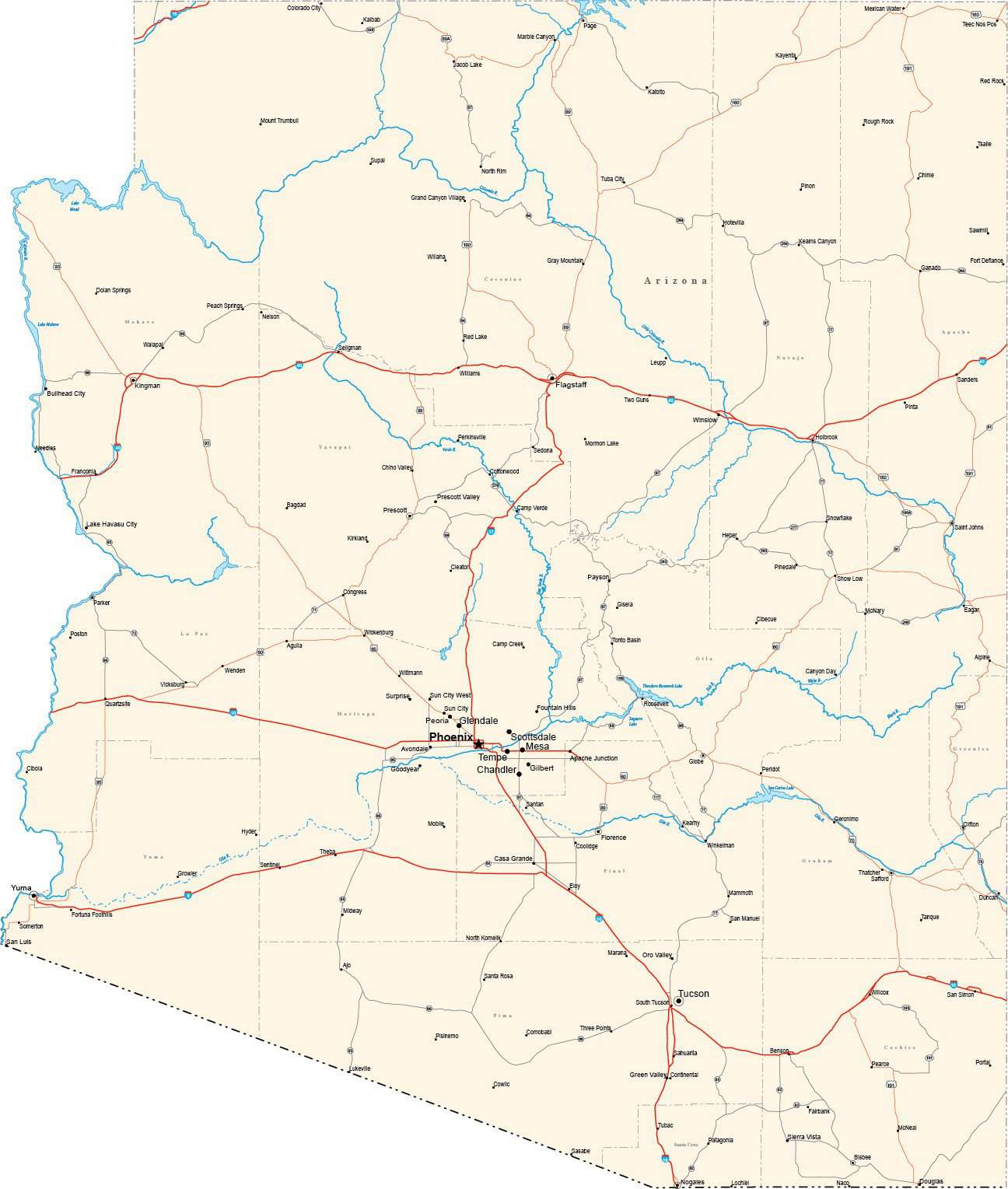 Map Of Arizona With Major Cities.Arizona State Map In Fit Together Style To Match Other States Az Usa