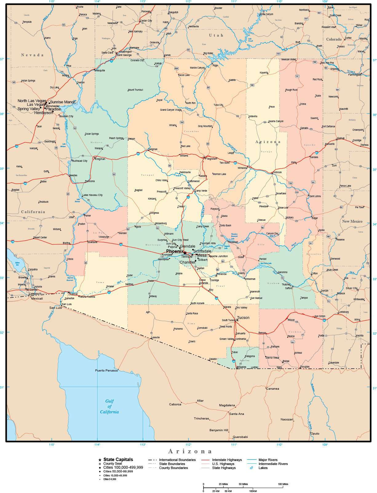 Map Of Arizona And Cities.Arizona Map With Counties Cities County Seats Major Roads Rivers And Lakes