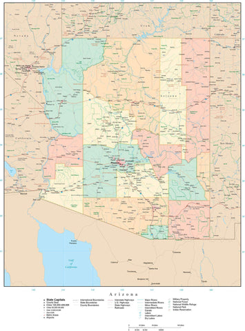 Detailed Arizona Digital Map with Counties, Cities, Highways, Railroads, Airports, and more