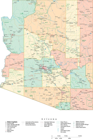 Detailed Arizona Cut-Out Style Digital Map with Counties, Cities, Highways, and more