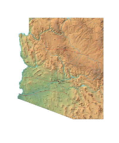 Digital Arizona Terrain map in Fit Together style with Terrain AZ-USA-852109