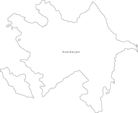 Digital Black & White Azerbaihan map in Adobe Illustrator EPS vector format