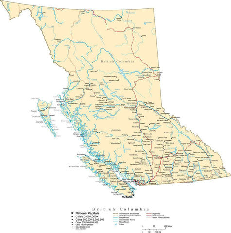 British Columbia Province Map - Cut-Out Style
