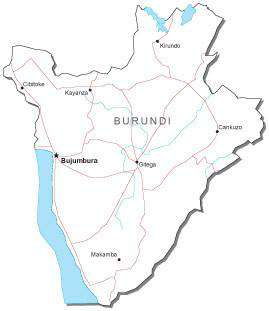 Burundi Black & White Map with Capital, Major Cities, Roads, and Water Features