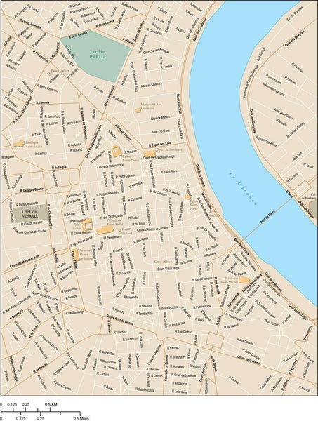 Bordeaux Map With Local Streets In Adobe Illustrator Vector Format
