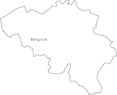 Digital Black & White Belgium map in Adobe Illustrator EPS vector format