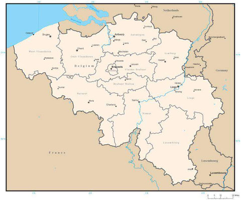 Belgium Digital Vector Map with Administrative Areas and Capitals