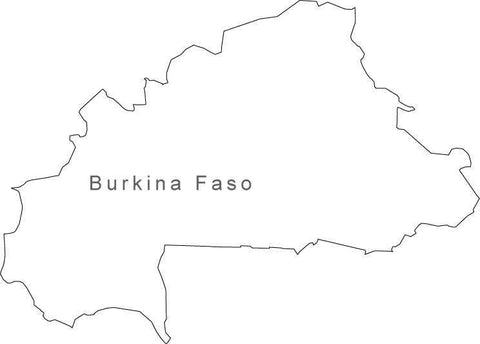 Digital Black & White Burkina Faso map in Adobe Illustrator EPS vector format