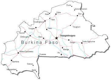 Burkina Faso Black & White Map with Capital, Major Cities, Roads, and Water Features