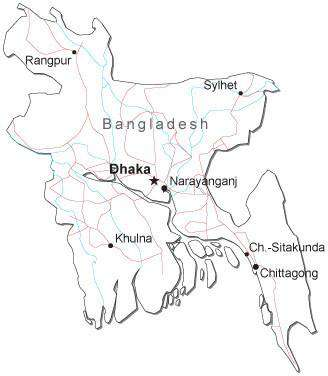 Bangladesh Black & White Map with Capital, Major Cities, Roads, and Water Features