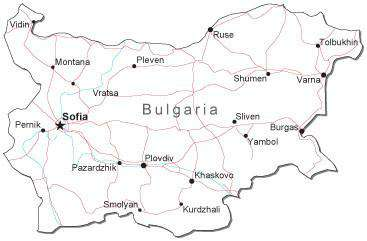 Bulgaria Black & White Map with Capital, Major Cities, Roads, and Water Features