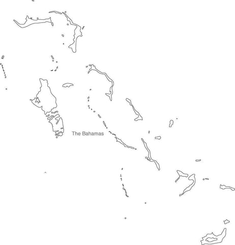 Digital Black & White Bahamas map in Adobe Illustrator EPS vector format
