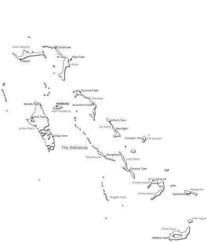 Bahamas Black & White Map with Capital Major Cities and Roads