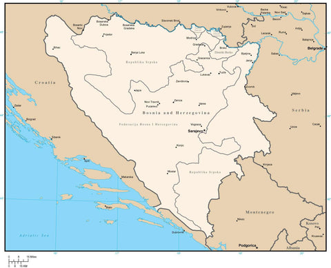 Bosnia & Herzegovina Map with Administrative Areas and Cities