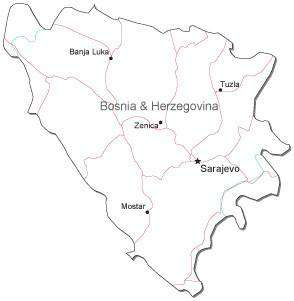 Bosnia & Herzegovina Black & White Map with Capital, Major Cities, Roads, and Water Features