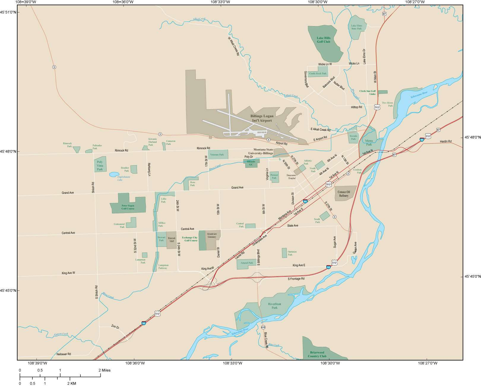 Billings MT Map - Metro Area - 108 square miles - with Major Roads
