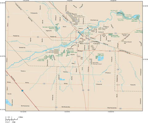Bakersfield Map Adobe Illustrator vector format BKF-XX-985153