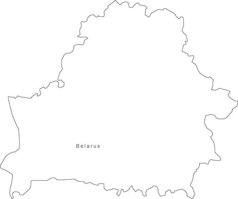 Digital Black & White Belarus map in Adobe Illustrator EPS vector format