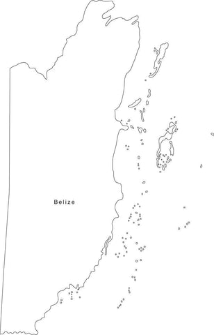 Digital Black & White Belize map in Adobe Illustrator EPS vector format
