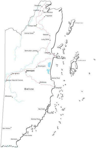 Belize Black & White Map with Capital, Major Cities, Roads, and Water Features