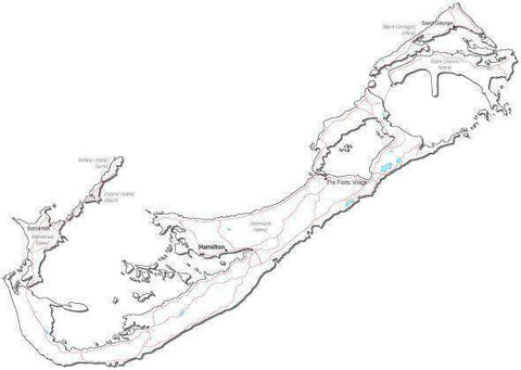 Bermuda Black & White Map with Capital Major Cities and Roads