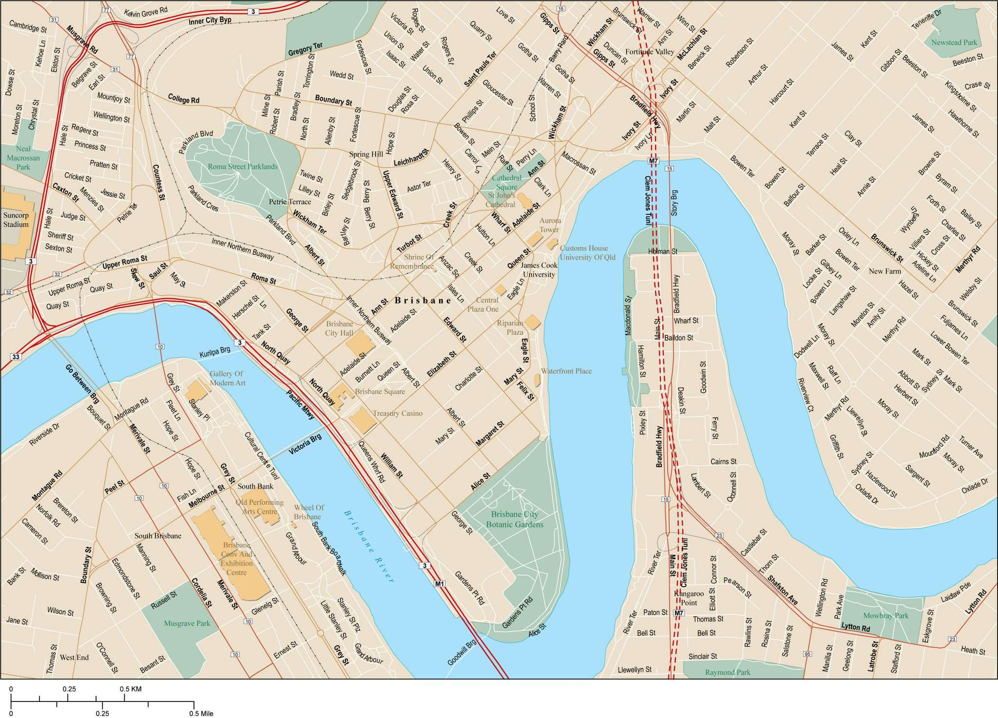 Brisbane Map Australia.Brisbane Map With Local Streets In Adobe Illustrator Vector Format