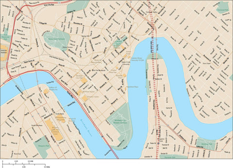 Brisbane Map Adobe Illustrator vector format BNE-XX-985437
