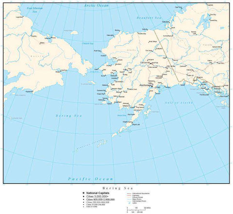 Bering Sea Map with Country Boundaries, Capitals, Cities, Roads and Water Features