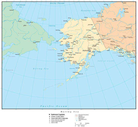 Bering Sea Map with Country Areas, Capitals, Cities, Roads, and Water Features
