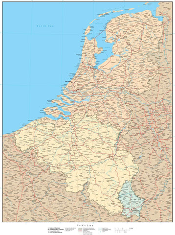 Belgium Netherlands Luxembourg Map - High Detail