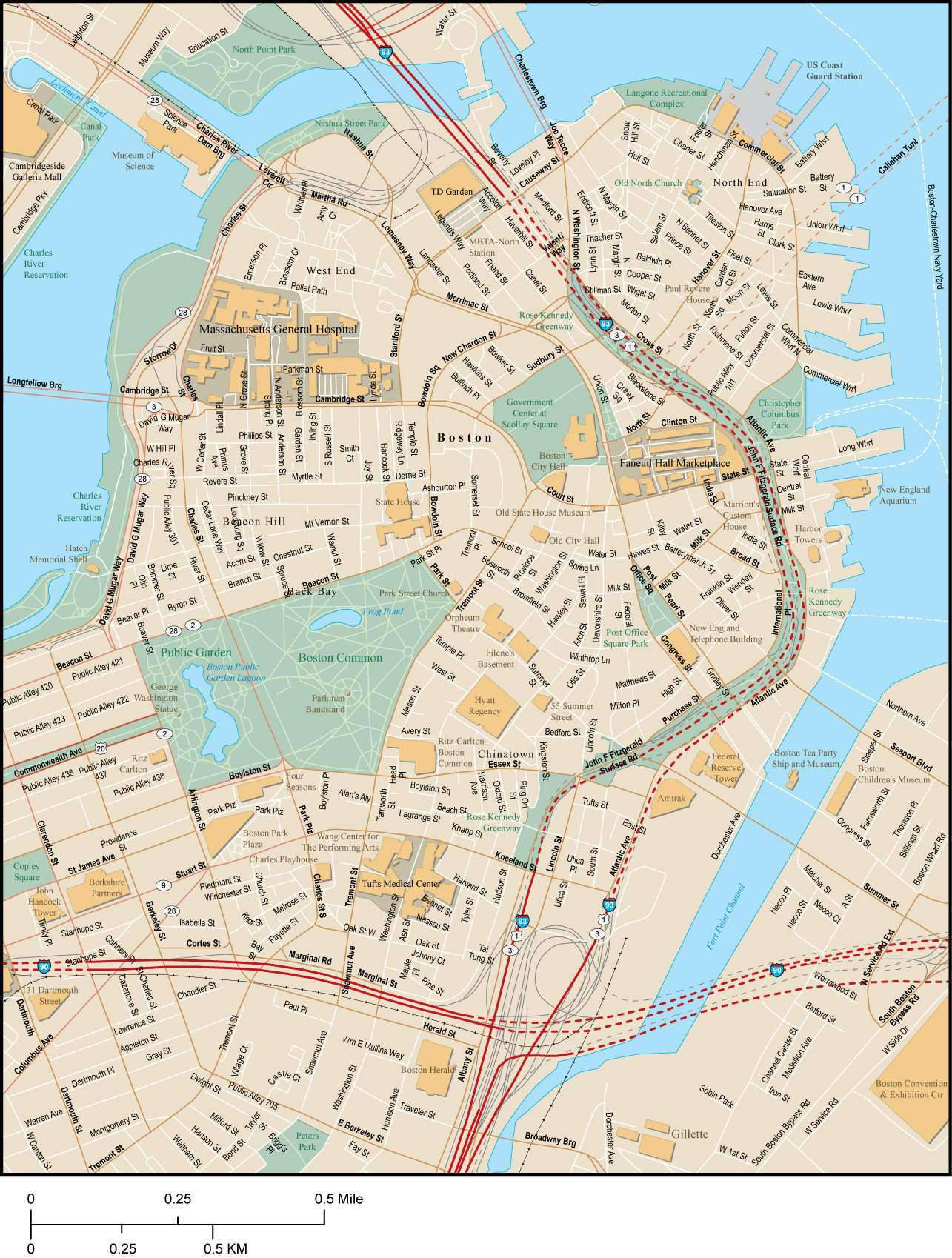 Boston MA Map - City Center - 4 square miles - with Local Streets on