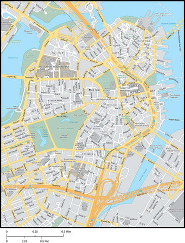 Boston  MA Map - City Center - 4 square miles - with Local Streets