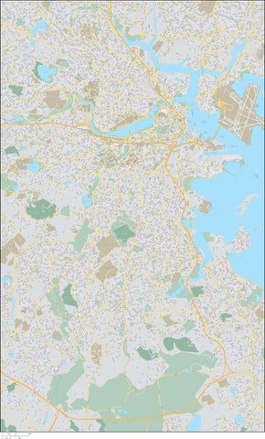 Boston  MA Map - 160 square miles - with Local Streets