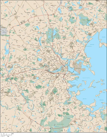 Boston  MA Map - with Arterial and Major Road Network plus 5 Digit Zip Code Areas
