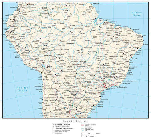 Brazil Region Map with Country Boundaries, Capitals, Cities, Roads and Water Features