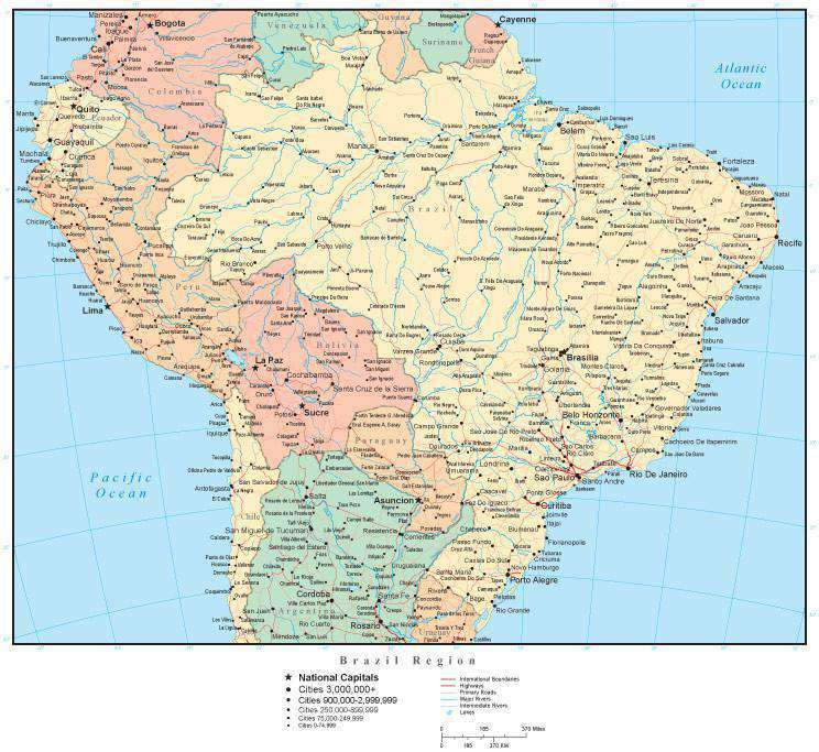 Brazil Region Map with Countries, Cities, and Roads – Map Resources