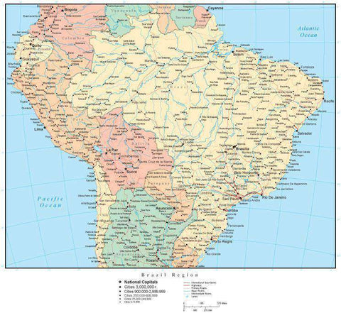 Brazil Region Map with Countries, Capitals, Cities, Roads and Water Features