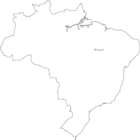 Digital Black & White Brazil map in Adobe Illustrator EPS vector format