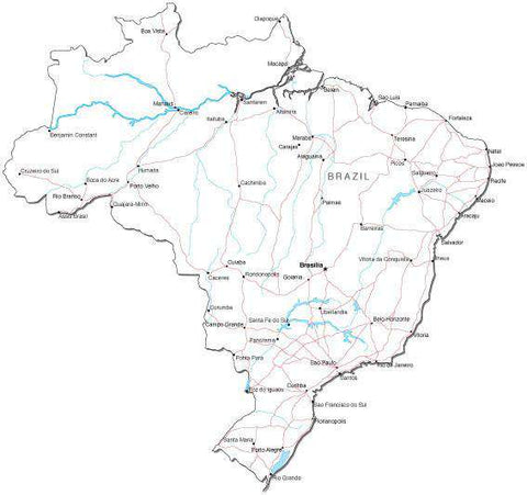 Brazil Black & White Map with Capital, Major Cities, Roads, and Water Features