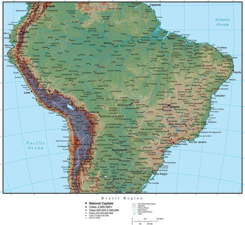 Brazil Region Terrain map in Adobe Illustrator vector format with Photoshop terrain image BRA-XX-952952