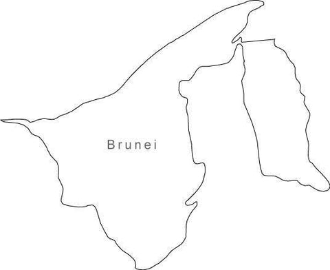 Digital Black & White Brunei map in Adobe Illustrator EPS vector format