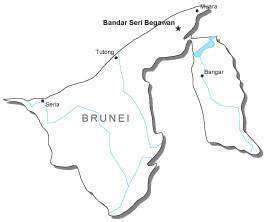 Brunei Black & White Map with Capital Major Cities and Roads
