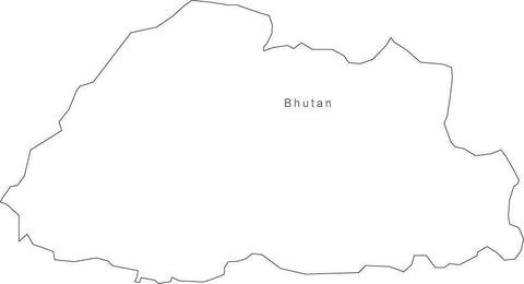 Digital Black & White Bhutan map in Adobe Illustrator EPS vector format