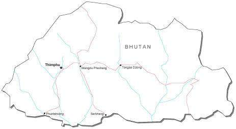 Bhutan Black & White Map with Capital, Major Cities, Roads, and Water Features