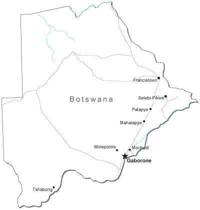 Botswana Black & White Map with Capital, Major Cities, Roads, and Water Features